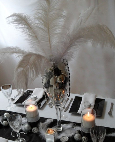 new year centerpiece, new year tablescape, new year black and white, new year eve party