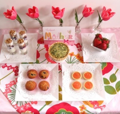 mother's day brunch ideas, yogurt parfaits, muffins, tartlets, quiche, fruit
