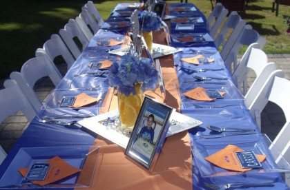 boy sweet 16 party, car license theme party, blue and orange party, 16 is sweet, fun teenage boy party ideas, car & driver sweet 16 party