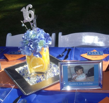 Boy Sweet 16 Party Car License Theme Blue And Orange
