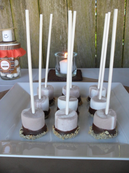 smores marshmallow pops, smores, cute smores, smores party, smores party idea, summer party ideas