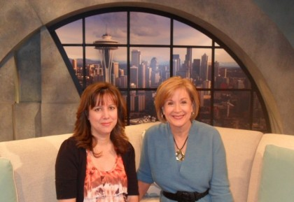 Norene Cox, Margaret Larson,  KING 5, KING 5 television, New Day Northwest, Party Pinching, Seattle party, Seattle desserts, Seattle television