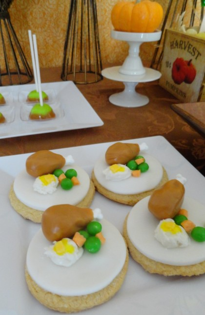 turkey cookies, thanksgiving dessert table, thanksgiving desserts for kids, corn stalk waffles, turkey cookies, mini pumpkin pies, candy cornucopias, mini caramel apples, marshamallow turkeys, nut tur