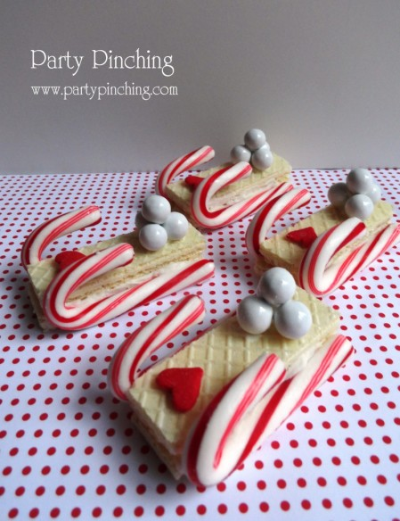 wafer cookie sleds, christmas sleds, christmas cookie sleds, christmas cookie candy cane
