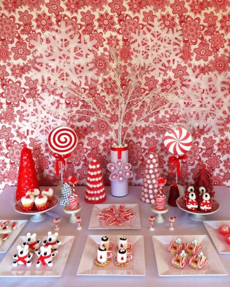 christmas dessert table, cute christmas desserts, red and white dessert table