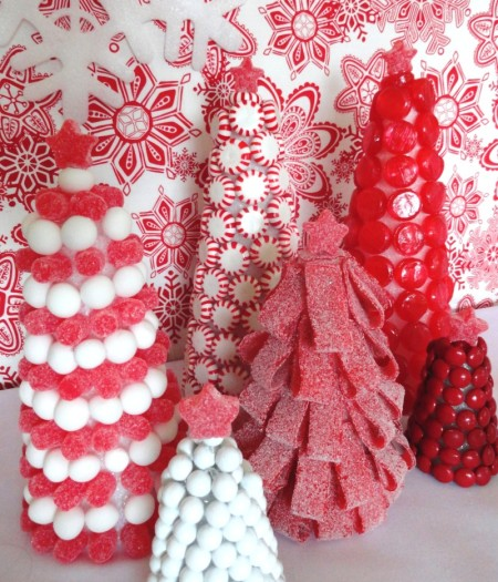 candy trees, red and white trees, candy cane, candy cane trees,