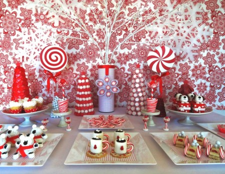 christmas desserts, cute christmas food, cute christmas, red and white christmas decorations, red and white dessert table