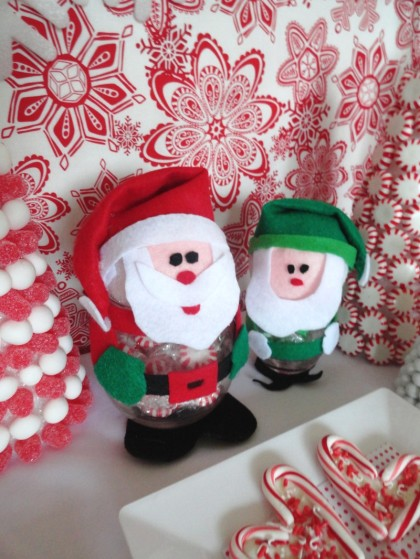 santa and elf candy dish, christmas crafts, easy christmas craft