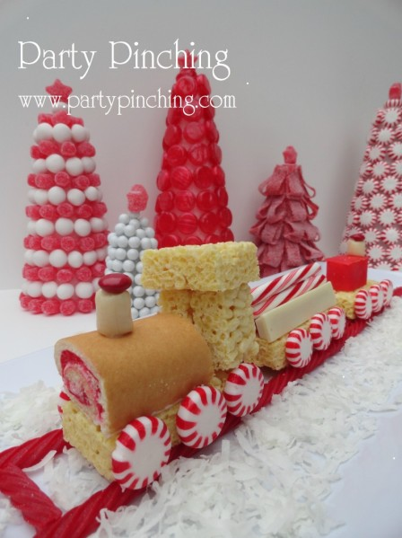 rice krispie train, christmas train, christmas children's table centerpiece, cute christmas train, candy train,
