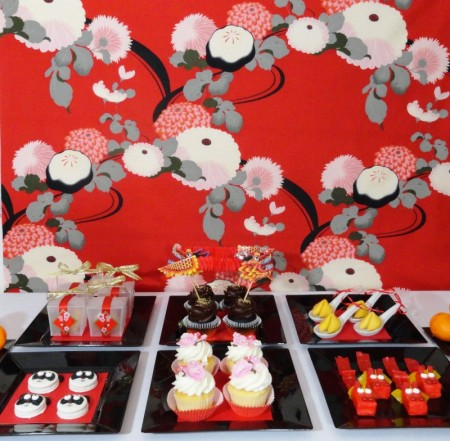 chinese new year desserts, chinese new year party, dragon cupcakes, dragon treats, panda cookies, cherry blossom cupcakes, fortune cookies, chinese takeout boxes, chinese desserts