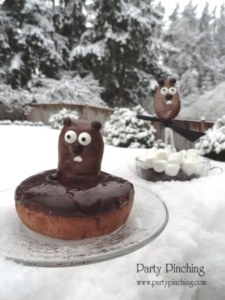 groundhog's day, groundhog's day treat, groundhog's day cute, punxsutawney phil breakfast, groundhog donut, chocolate spoon, groundhog spoon, groundhog party, groundhog snack