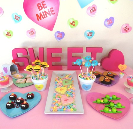 Valentines day party, valentines dessert ideas, cute valentine desserts for kids, valentines day dessert table, sweetheart candy, conversation heart candy, heart desserts, heart candy, heart party