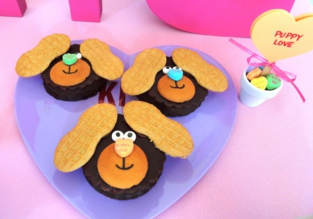 valentines dessert ideas, cute valentine desserts for kids, puppy love moon pies, conversation hearts, valentine's day party ideas