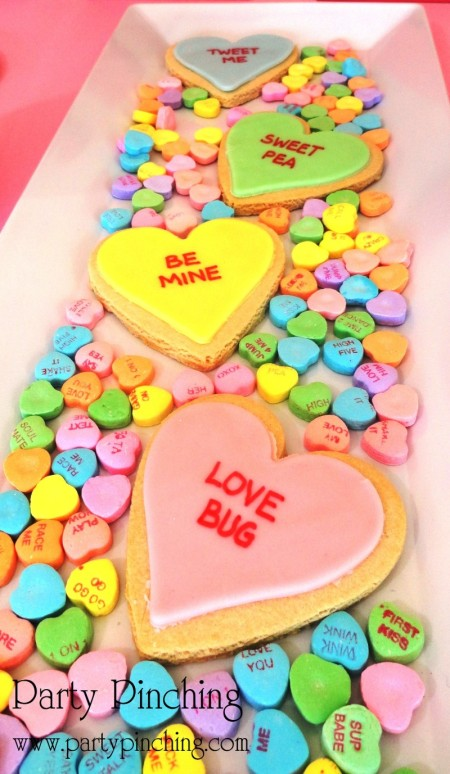 cute food, cute heart cookies, conversation heart cookies, sweet heart cookiies, heart cookies