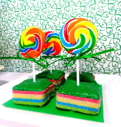 rainbow lollipops, rice krispie treat rainbow, st. patrick's day dessert, st. patrick's day treat, st. patrick's day party, cute food