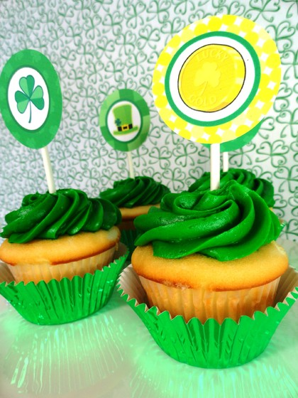 St. Patrick's Day cupcake, st.patrick's day desserts, st. patrick's day treats, st. patrick's day party for kids
