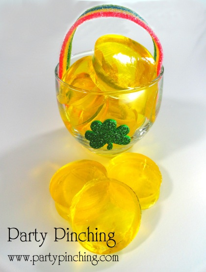 jello pots of gold, jello gold coins, jello st patricks day, st patricks day dessert, st paddy's day dessert, st. paddy's day ideas cute food