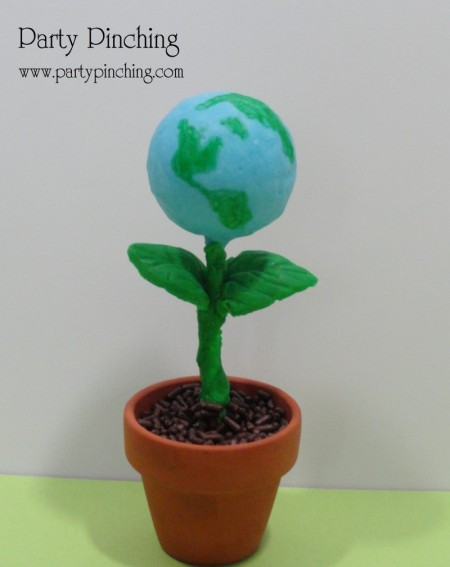 cute food, earth day party, earth day dessert, earth day cake pop, earth day treat