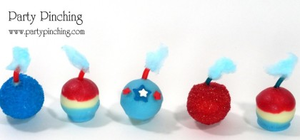 4th of July dessert, firecracker candy, smoke balls, patriotic truffles, Lindt truffles, 4th of July candy, 4th of July party, 4th of July treats, red white and blue candy