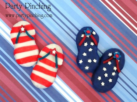 4th of July flip flops, 4th of July cookies, red white and blue cookies, summer cookies, stars and stripes cookies, stars and stripes flip flops