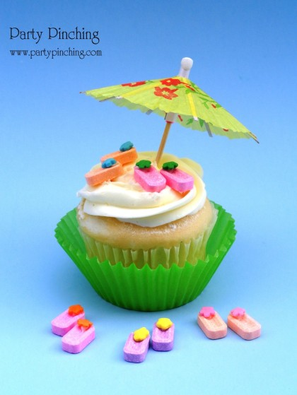 Flip Flop Cupcake Toppers, candy flip flops, Pez flip flops, luau party, tropical party