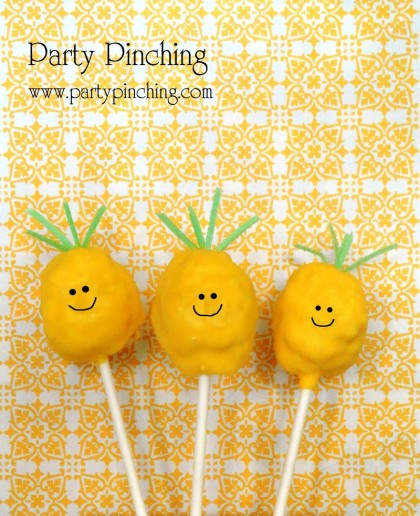 pineapple cake pop, pineapple rice krispie treat, cute pineapple, tropical treat, luau party ideas