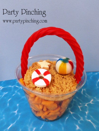 beach pail snack, beach cookie, sand bucket snack, goldfish snack, beach party ideas