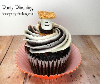 smore cupcakes, smore cake toppers, cute food, smore party ideas