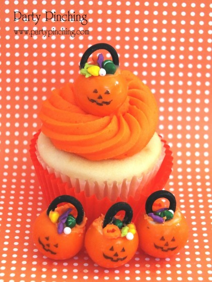 pumpkin cupcake topper, pumpkin gumball, pumpkin gumball bucket, pumpkin trick or treat bucket