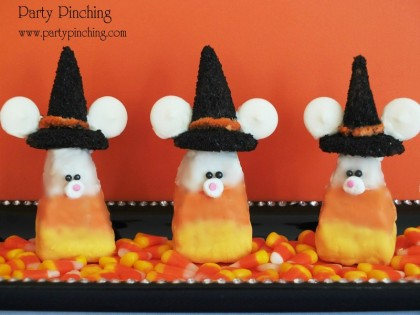Rice Krispie Treat Candy Corn Mice, Candy Corn Mice, Cute Halloween treats, cute candy corn, halloween treat,