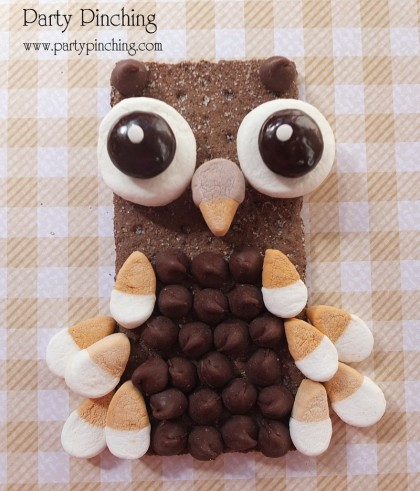 owl graham cracker, owl cookie, cute owl snack, harvest snack, fall snack, harvest party treat, owl cookie