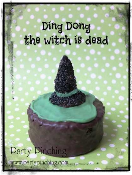 ding dong witch, ding dong witch is dead, halloween witch snack, halloween party, wizard of oz snack, wicked witch, halloween dessert