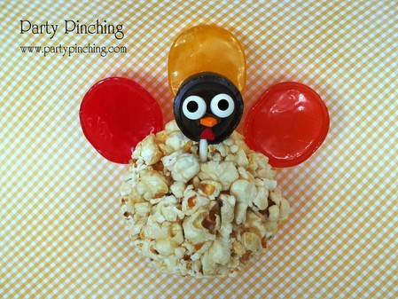 thanksgiving turkey, thanksgiving turkey treat, cute turkey popcorn ball, cute thanksgiving dessert, thanksgiving snack, cute thanksgiving dessert, thanksgiving dessert for kids