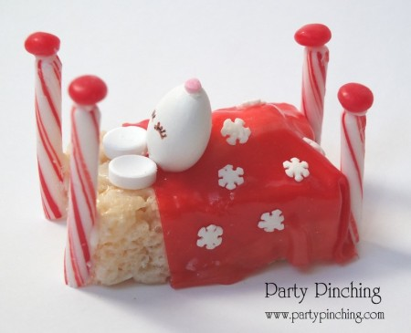 sweet sleeping christmas mouse, cute rice krispie treat, adorable mice dessert, night before christmas