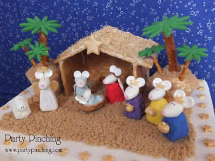 nativity cake, cute nativity cake, christmas cake, cute christmas cake