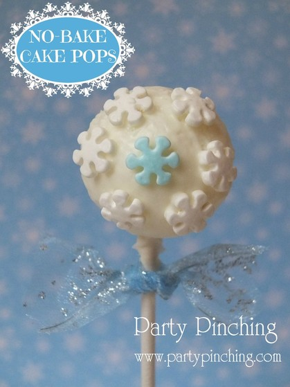 no-bake cake pops, easy cake pops, winter cake pops, snowflake cake pops