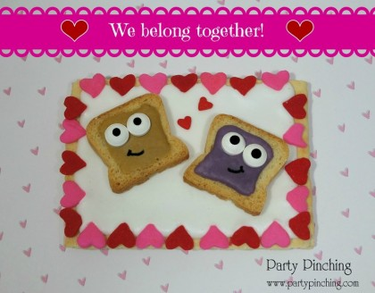 PB & J cookie, peanut butter & jelly cookie, peanut butter and jelly toasts, pop-tarts, cute cookie, cute food, cute valentine cookie, valentine dessert for kids, valentine treat for kids