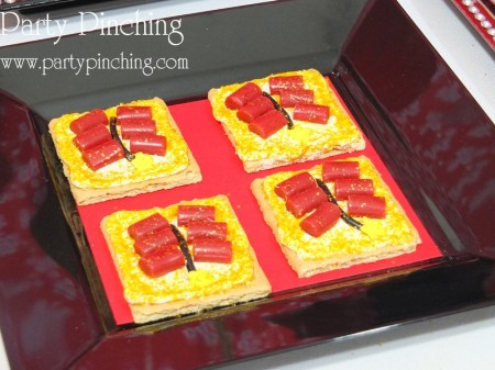 chinese new year firecracker cookies, fire graham crackers, chinese new year dessert ideas, chinese new year party ideas