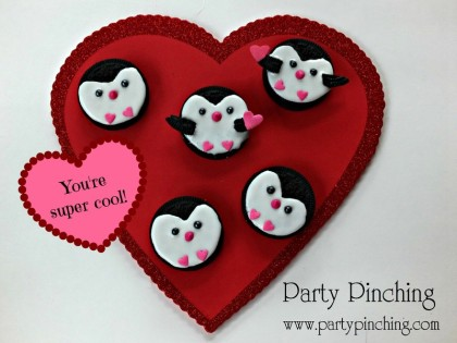 cute penguin cookies, penguin cookies, valentine's day cookies, valentine party ideas, valentine's day dessert ideas, valentine's dessert for kids, valentine treats for kids, children valentine's day
