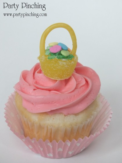 Easter cupcake topper, Easter basket cupcake, Gumdrop Easter basket, Easter dessert ideas, Easter dessert table, Easter treats for kids, easy Easter desserts, Easter cupcakes