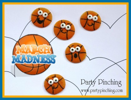 basketball cookies, march madness ideas, basketball party ideas, nilla wafers