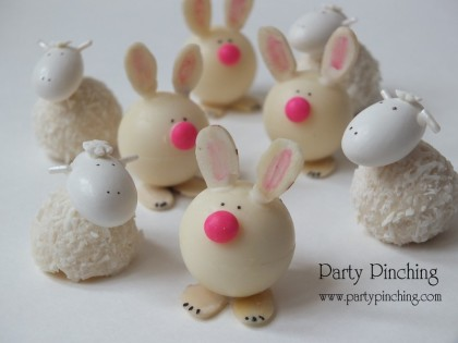 cute easter desserts, sheep and bunny truffles