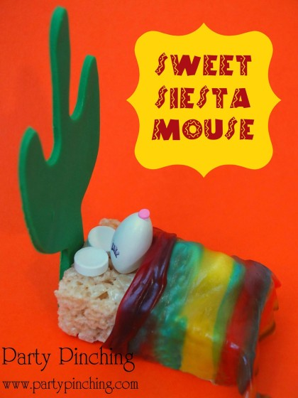 cinco de mayo ideas, cinco de mayo treat, rice krispie treat mouse, cute siesta mouse, fiesta party ideas, cinco de mayo fiesta for kids