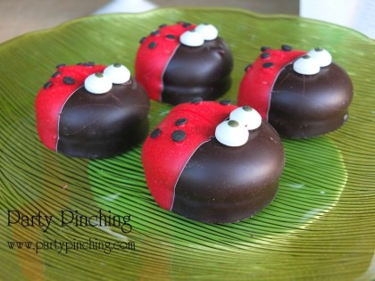 ladybug cookies, garden cookies, cute ladybug cookies, mallomars, greenhouse cake, garden cake, garden party ideas, garden party desserts