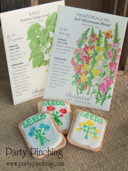 seed packet cookies, flower cookies, garden cookies, greenhouse cake, garden cake, garden party ideas, garden party desserts