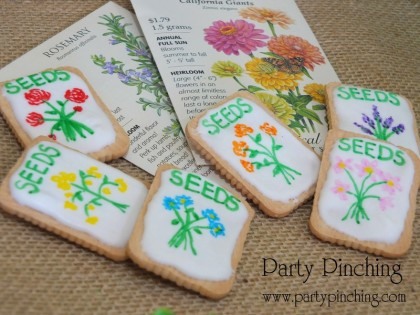 cookie seed packets, garden cookies, flower cookies, greenhouse cake, garden cake, garden party ideas, garden party desserts
