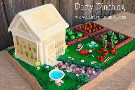 greenhouse cake, garden cake, garden party ideas, garden party desserts