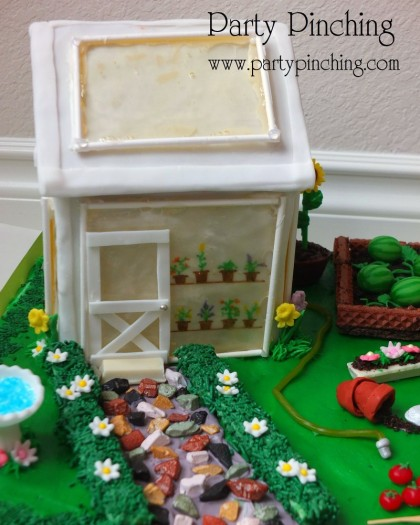 Greenhouse gingerbread house cake, garden party ideas, cute food, fun food for kids, sweet treats, garden cookies, mini vegetables made from candy