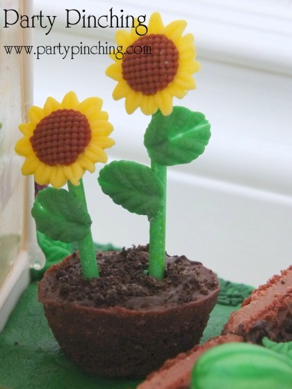 fondant sunflowers, Greenhouse gingerbread house cake, garden party ideas, cute food, fun food for kids, sweet treats, garden cookies, mini vegetables made from candy