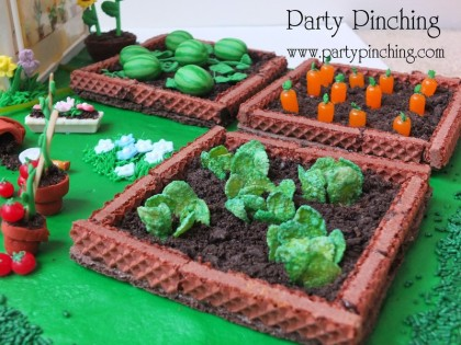 fondant watermelon, mike & ike candy carrots, frosted flakes lettuce, cinnamon candy imperials tomatoes, cookie wafer garden, garden greenhouse cake